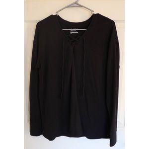 Tek Gear black long sleeve lace tie shirt